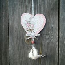 Valentine heart ornament Pink Shabby Roses print Floral Wedding Decoration Gift