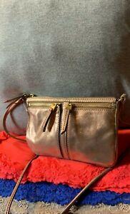 Fossil Erin Rose Gold Leather Credit Card Zip Shoulder Bag Handbag Crossbody