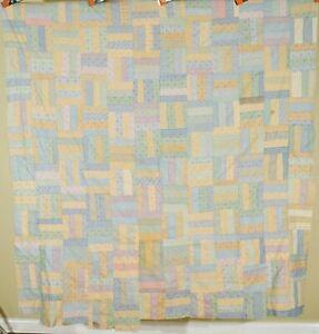 BEAUTIFUL Vintage 20's Roman Strip Antique Quilt Top ~Cheery Shirting Fabrics!