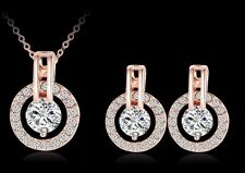18K Rose Gold Plated Austrian Clear Crystal Round Earring Pendent Necklace Set