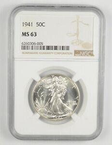 1941 MS63 Walking Liberty Half Dollar - Graded By NGC - Choice Unc *025