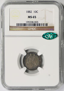 1882 Liberty Seated Dime 10C MS 65 NGC CAC Approved