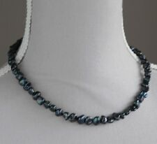 """BAROQUE BLACK CULTURED PEARL NECKLACE ~ 17"""" (JUNE BIRTHSTONE) STERLING SILVER"""