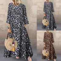 ZANZEA Women's Long Sleeve Leopard Print Long Shirt Dress Round Neck Midi Dress