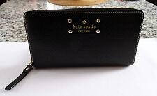 KATE SPADE Wellesley Neda Leather Zip Around Wallet/Black