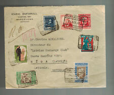 1937 Barcelona Spain Cover Civil War  to Riga Latvia with labels