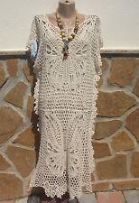 Italy 2TLG Kleid Tunika Ibiza Boho Hippie Empire Party Häkel Creme EG 40-42-44