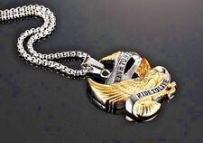 """LIVE TO RIDE - RIDE TO LIVE"" EAGLE - Gold Plated 316L Stainless Steel Necklace"