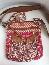 Fossil Pink Purple Floral Canvas Leather Trim Messenger Crossbody Shoulder Bag