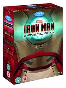 IRON MAN TRILOGY BLU RAY BOXSET 3 MOVIE COLLECTION ROBERT DOWNEY JR  1 2 3