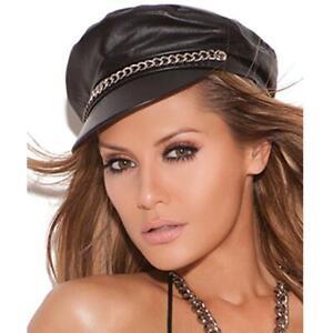 Leather Hat Chain Detail Authority Cap Cop Biker Style Costume Black L9895