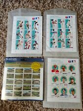LOT OF MAJOR LEAGUE BASEBALL STAMPS AND A SHEET OF UNOPENED LEGENDARY FIELDS EUC