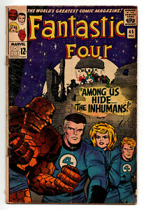 FANTASTIC FOUR #45 2.0 1ST INHUMANS KIRBY ART 1965 OFF-WHITE PAGES