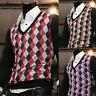 Mens Modern V-neck Argyle Long Sleeve Sweater Knit Vest Cardigan Jumper Tops S/M