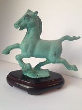 "Horse Green Metal Casting Wood Stand 8"" Beauty"