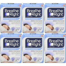 6 Pack Breathe Right Nasal Strips For Sensitive Skin - 30 Large Clear Strips Ea