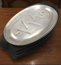 Lot of 4 Vintage Aluminum Steak Sizzler Serving Plates Fajita Platter Holder Set