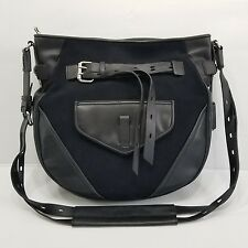 JOY GRYSON Marley Black Leather Long Strap Large Hobo Convertible Crossbody NEW