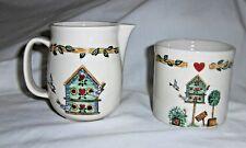 "Thomson Pottery and China Cream & Sugar Set ""Birdhouse"" Pattern Retired 2006"