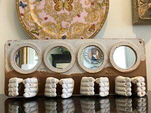 Rare Mid Century Art Pottery and Mirrors Bathroom Toothbrush Holder