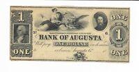 $1 18XX Bank of Augusta Georgia G26  Maid Eagle Rare Note Plate B Remainder