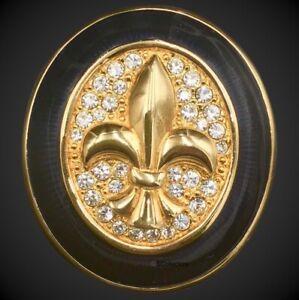 NEW Swarovski Crystal Brooch Jewelry, Fleur De Lis Lily French Motif, Enamel Pin