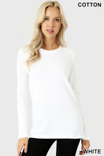 Womens T Shirt Crew Neck Long Sleeve Zenana Cotton Stretch Top S/M/L/XL
