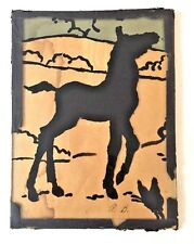 Colt Silhouette Art Picture Mid Century Style Under Glass Signed Primitive Brute