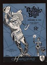1961 AFL Program Buffalo Bills @ San Diego Chargers EM