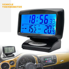 Car Auto LCD Digital Clock Thermometer Outdoor Indoor Temperature LED Backlight