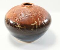 Signed Handcrafted Studio JOSIA LABAR ? Drip Glazed Pottery Vase Jar
