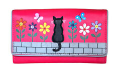 MALA Leather Cat Purse Pink Ladies Bi-Fold Coin Card Holder Womens Wallet Purses