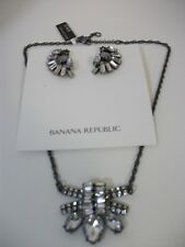 Banana Republic Deco Crystal Pendant STATEMENT Necklace NWT 58 DECO EARRINGS NWT
