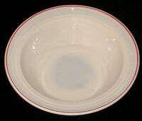 """Hazel Atlas MODERNTONE PLATONITE WHITE W/RED STRIPE*8 3/4"""" LARGE BERRY BOWL*#2*"""