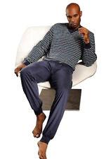 Seidensticker Schiesser Herren Schlafanzug Pyjama Langarm V-Ausschnitt Blau 48