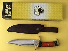 "New Timber Rattler Dark Pakkawood Bowie Knife TR77 & Leather Sheath 12"" Overall"