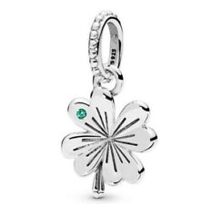 Sterling Silver Bead Charm Lucky Four-leaf Clover Beads Fit European Bracelet