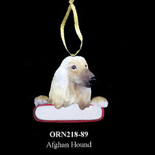 """Afghan Hound Christmas Dog Ornament """"Santa's Pals"""" Personalized Name Plate #89"""