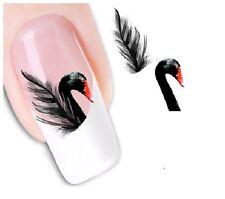 Nail Art de transferencia de agua Pegatina Adhesivos Negro cisnes plumas calcomanías (DX1553)