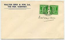 GUERNSEY 1941 ARMS FIRST DAY COVER 1/2d SPECTACULAR PRINT ERROR..WALTER BIRD ENV