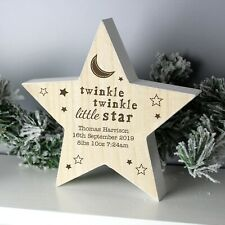 Personalised Twinkle Twinkle Rustic Wooden Star Decoration Add Message