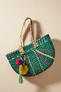 ANTHROPOLOGIE NWT VINEET BAHL Braided GREEN STRAW Tote Bag SOLD OUT!!