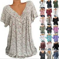 Plus Size Women Boho Floral Blouses Tops Ladies Loose Baggy Summer Beach T-Shirt