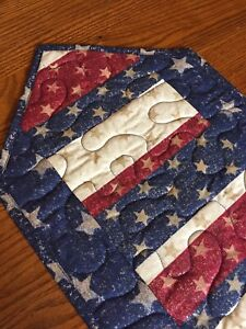 Handcrafted-Quilted Table Runner- Patriotic Runner-Stars &Stripes Patriotic Yeah