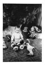 Christmas Tree, Boy & Presents, Clown Duck Dog Toys 1966 Childhood Vintage Photo