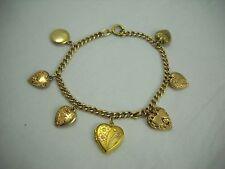 Vintage 12k Gold Filled Puffy Heart & Locket Charm Bracelet Lovely!