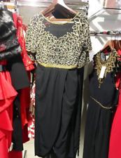 Virgos Lounge Black Leaf Embellished Dazzle Wedding Midi Party Dress 8 to 16 New