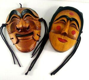 Vintage Korean Hahoetal Theater Masks Bune / Punae Paekjung Yangban Talchum Wood