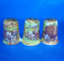 Birchcroft Thimbles -- Set of Three  -- Gold Top Working Horses ( Make Offer )