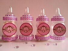12 Pink Monkey Fillable Bottles Baby Shower Girl Favors Safari Jungle Animal